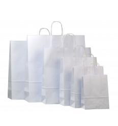 Shoppers in carta bianca, maniglia ritorta