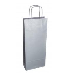 Shoppers portabottiglia Argento, maniglia ritorta Argento