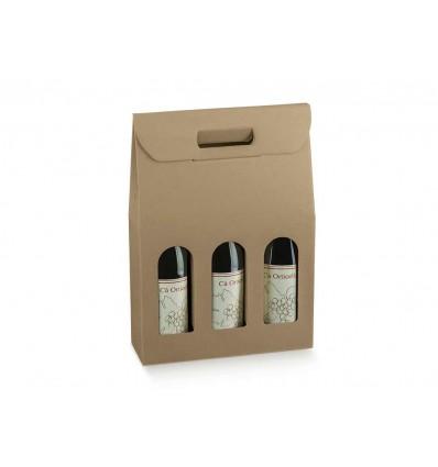 Porta 3 bottiglie Avana