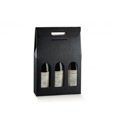 Porta 3 bottiglie Seta Nero